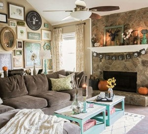 eclectic rustic fall home living room mountainmodernlife.com