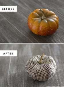 Create these adorable DIY fabric tape pumpkins by wrapping faux pumpkins with fabric tape! MountainModernLife.com