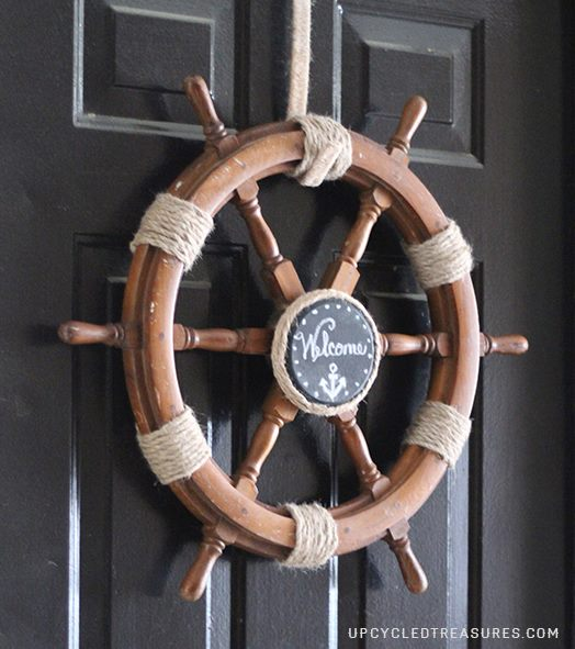 Can't figure out what to do with that old ship helm? Check out How to Upcycle a Ship Helm into a Nautical Wreath! upcycledtreasures.com