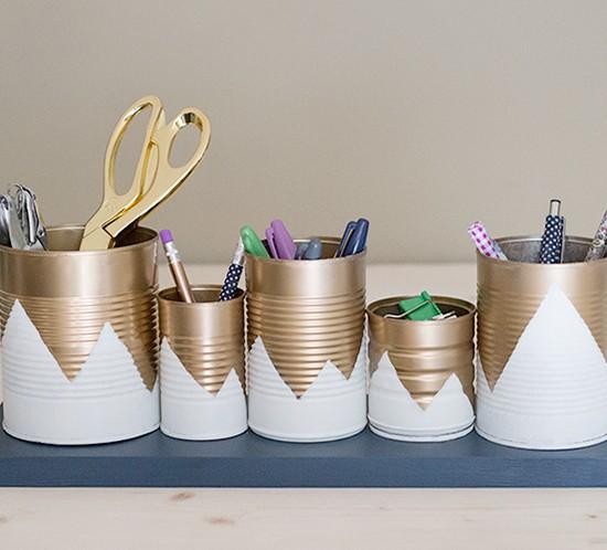upcycled tin can desk organizer mountainmodernlife.com