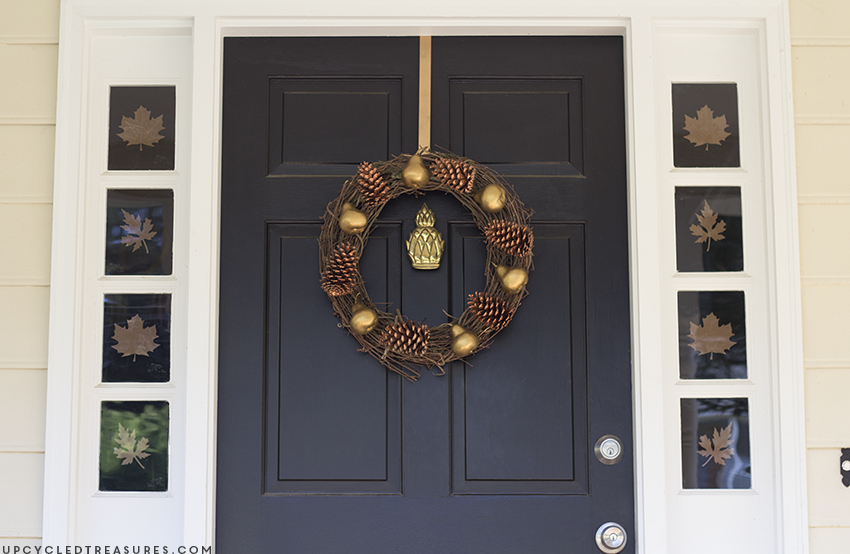 fall-front-door-leaf-decor-on-windows-upcycledtreasures