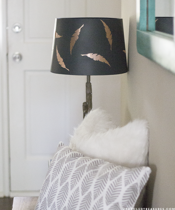 Need to spruce up a lamp? Update a lamp shade in as little as 5 minutes using contact paper and the Sizzix machine! upcycledtreasures.com