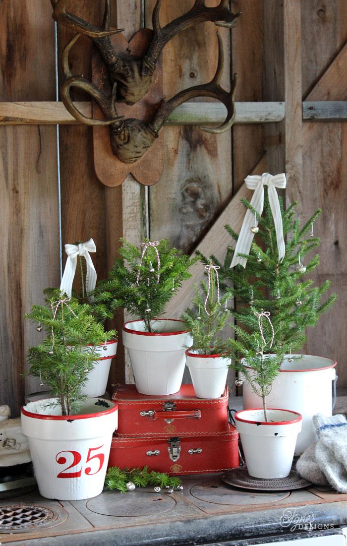Rustic Christmas Tree Pots