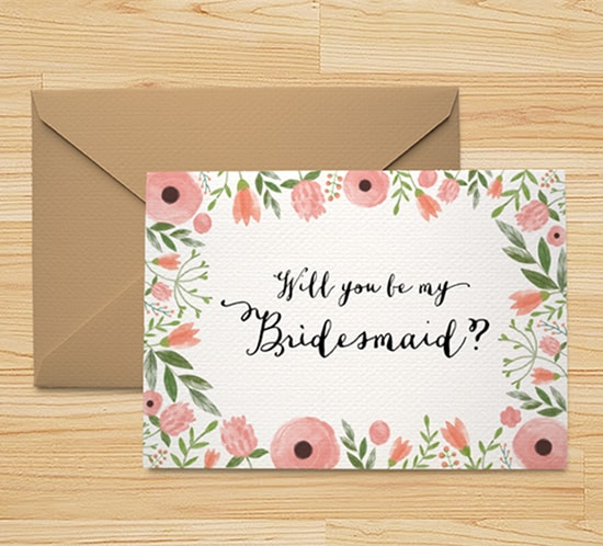 free printable will you be my bridesmaid card floral watercolor mountainmodernlife.com