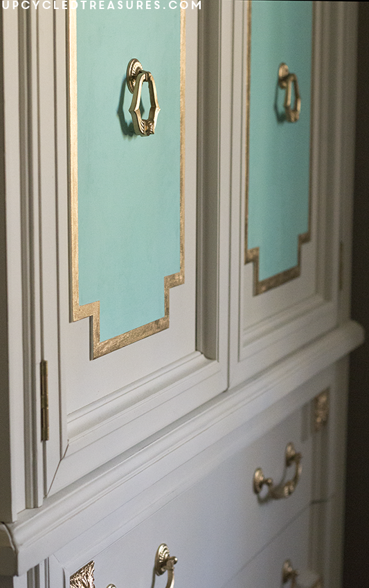 gold-and-turquoise-painted-on-white-armoire-upcycledtreasures