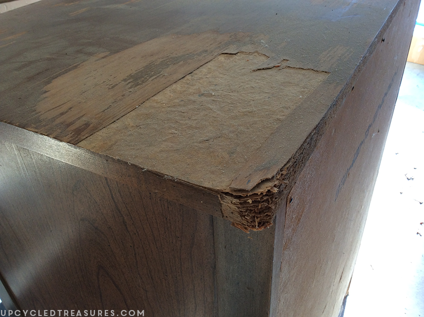 mid-century-furniture-makeover-before-photo-damage-to-top-upcycledtreasures
