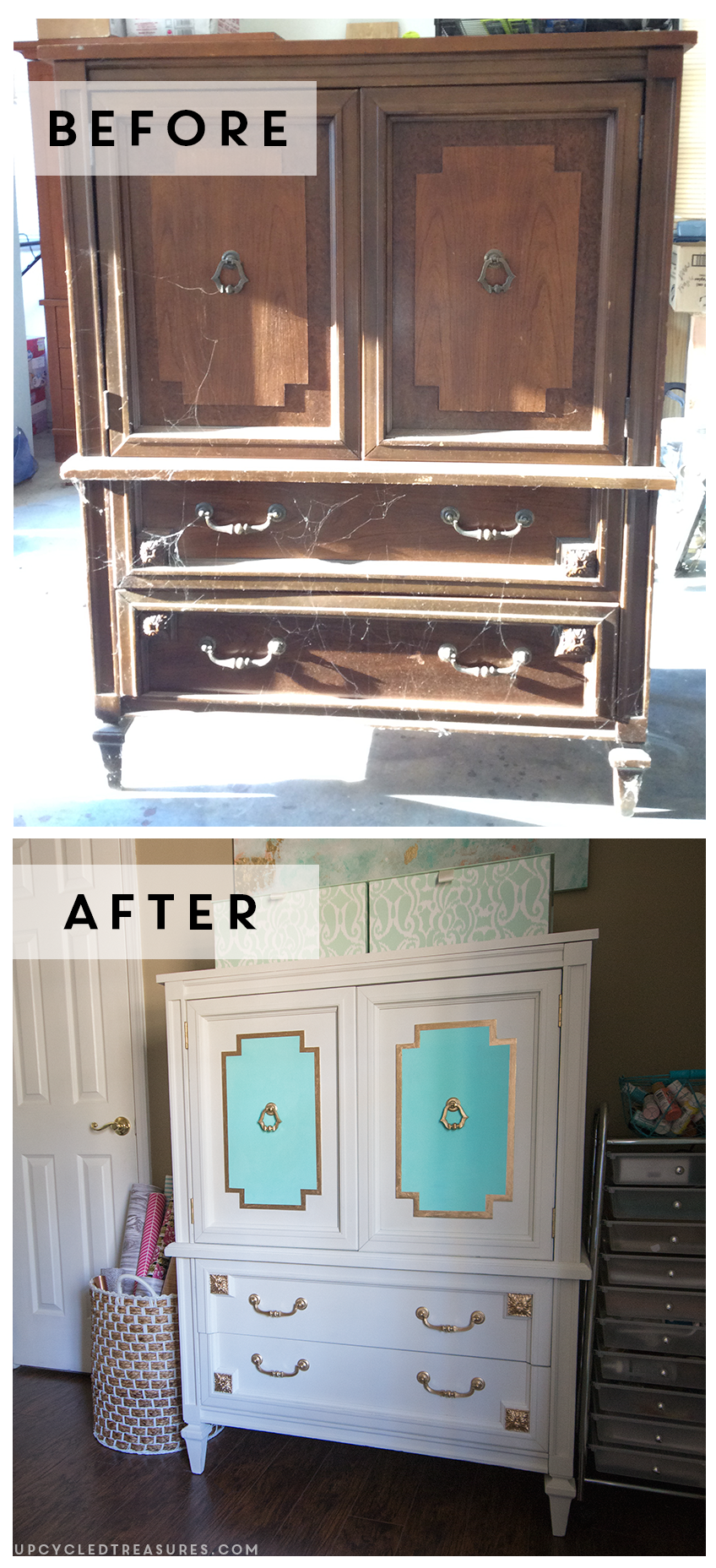 Want to see a piece of furniture completely change? Check out the Before and After photos of this upcycled mid century armoire! MountainModernLife.com