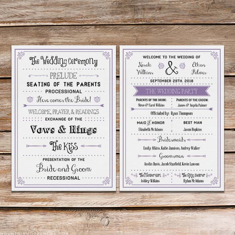 FREE Printable Rustic Wedding Program Template | MountainModernLife.com