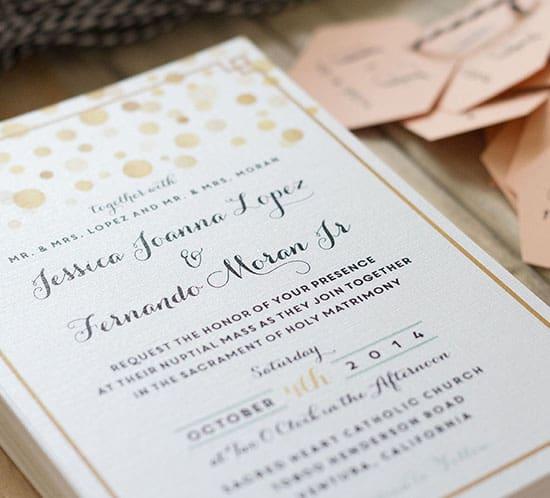 DIY invitations printed on white metallic linen paper mountainmodernlife.com