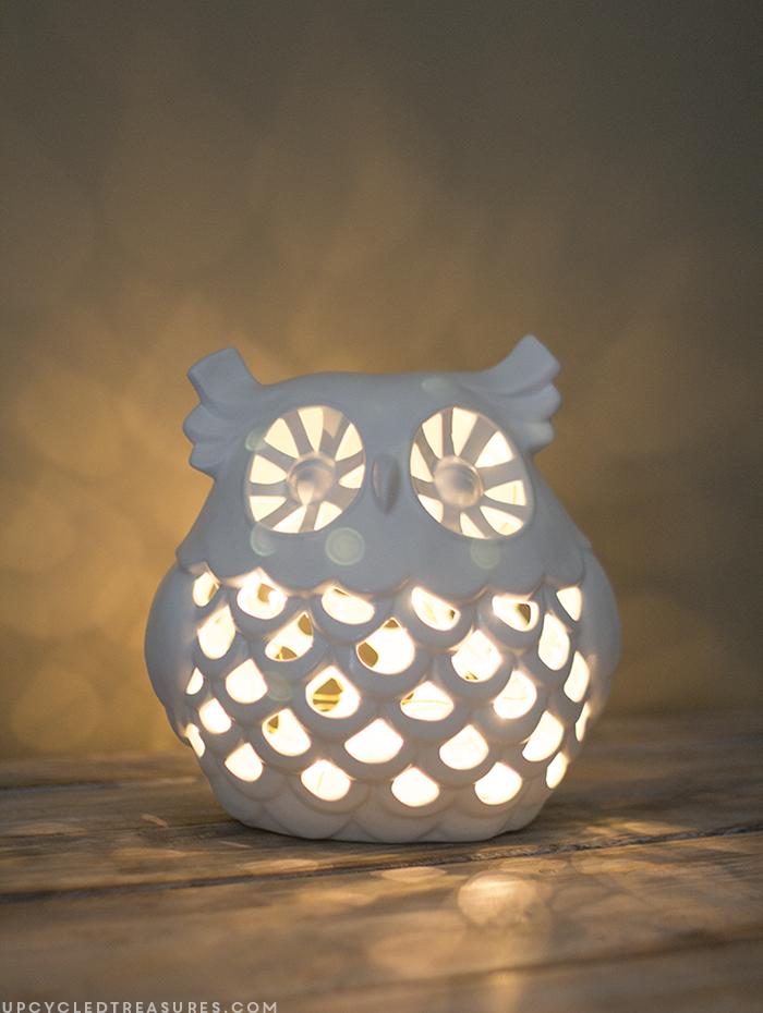How to Make an Owl Nightlight | upcycledtreasures.com