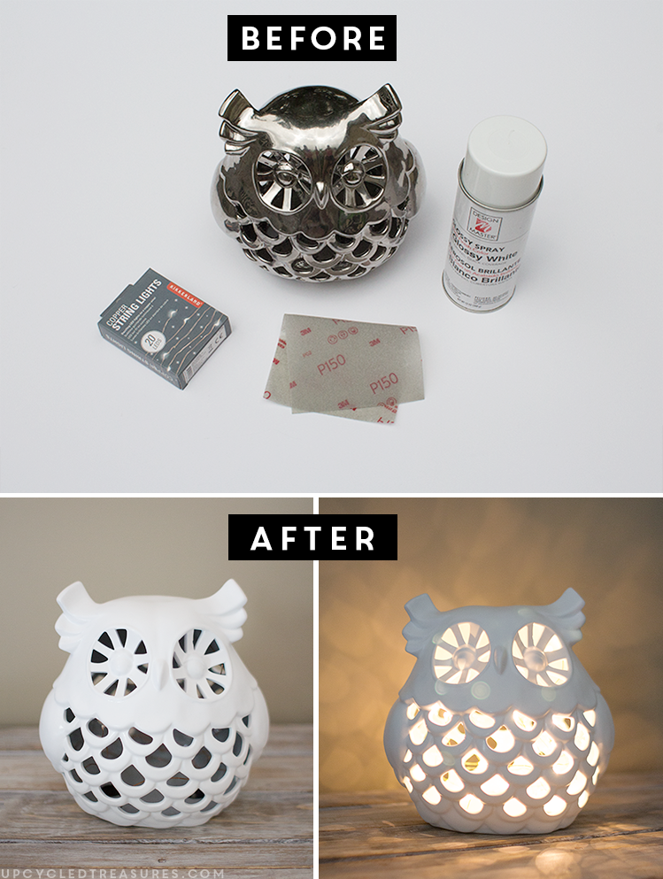 See how easy it is to create this DIY Upcycled Owl Nightlight using battery operated string lights! MountainModernLife.com