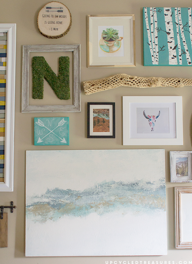 gallery-wall-with-DIY-art-and-decor-upcycledtreasures
