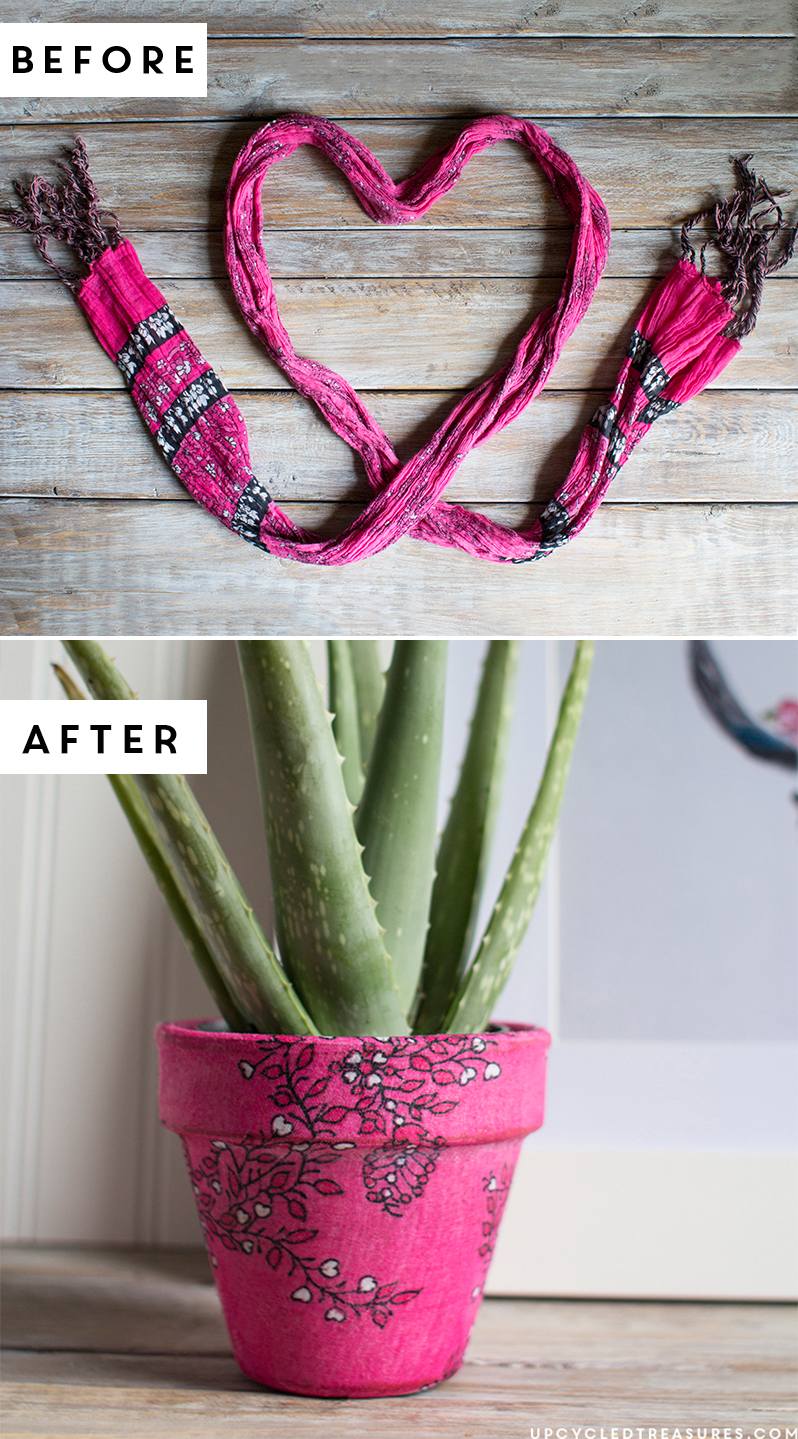 Looking for a fun and easy project? Re-imagine an old scarf into a new planter in this easy upcycled scarf planter tutorial! MountainModernLife.com
