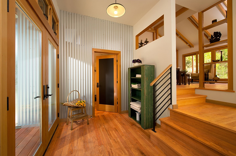 Modern Rustic Interior Design with Corrugated Metal Wall | Barnlight Electric