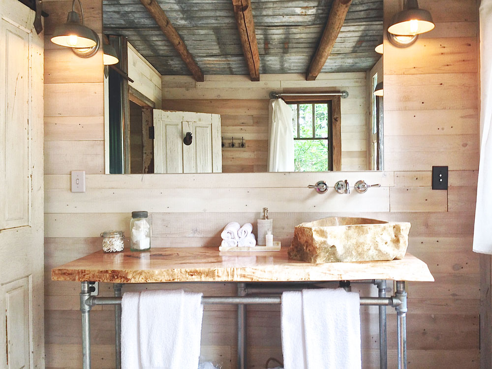 Rustic Treehouse Bathroom with Corrugated Metal Accents | Lynn Knowlton
