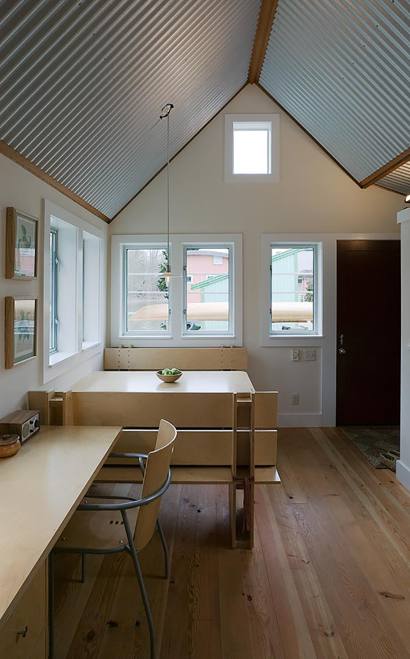 Floating Guest House with Corrugated Metal Interior | Tiny House Blog