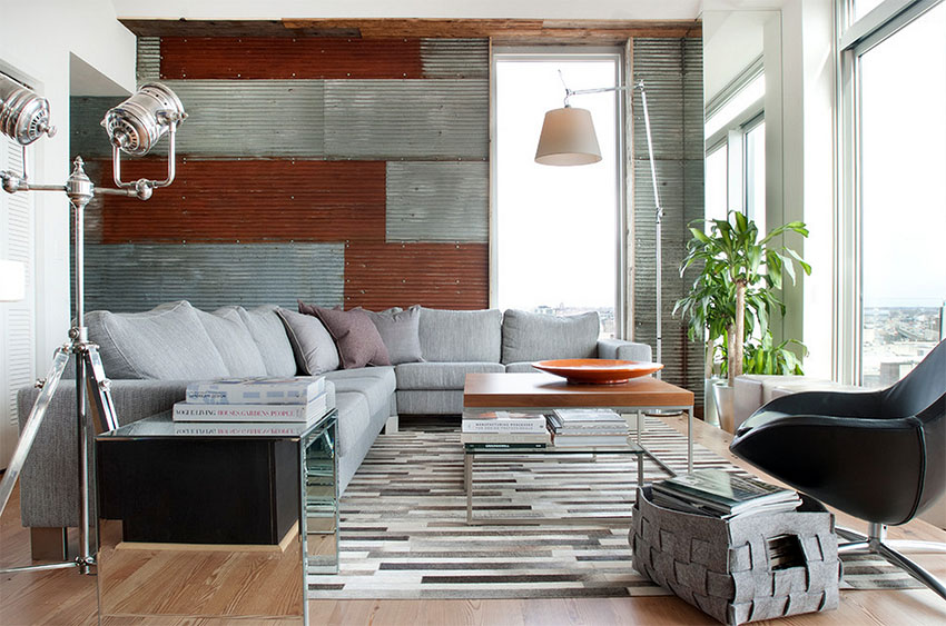 Contemporary Penthouse with Corrugated Metal Wall | Groundswell Design Group