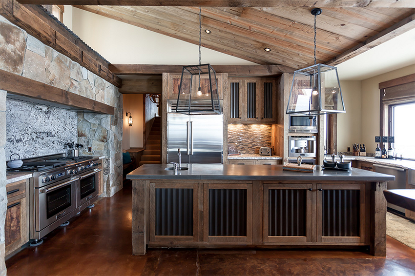 Mountain Home Remodel with Corrugated Metal in Kitchen | Highcamp Home