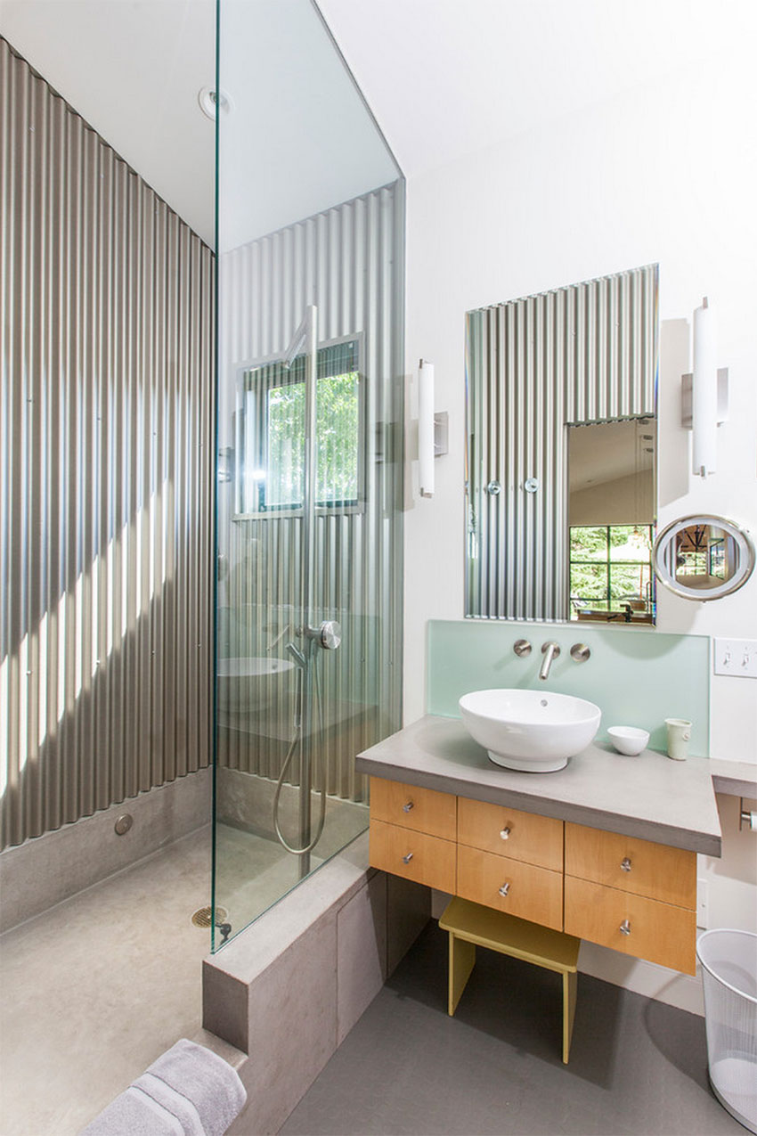 Modern Guesthouse Bathroom with Corrugated Metal | Victor Samuel Photography
