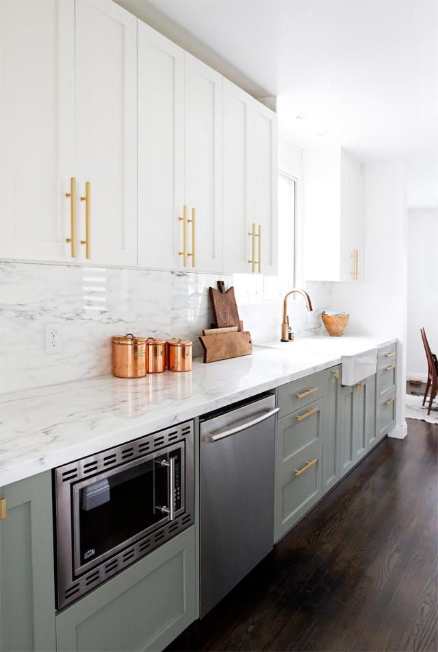 Stunning Kitchen Designs with 2-Toned Cabinets | Modern Kitchen with Brass Drawer Pulls | Sarah Sherman Samuel