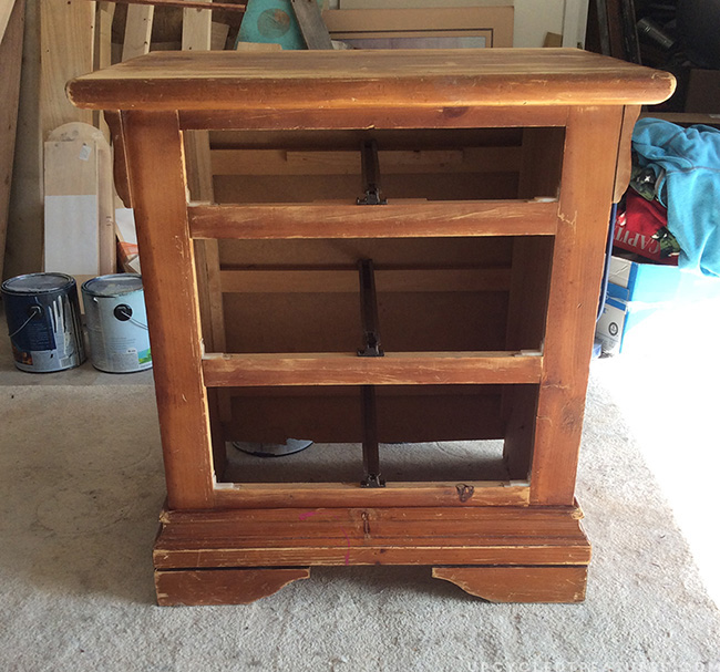 Picture of Nightstand before being redone without drawers in place. MountainModernLife.com