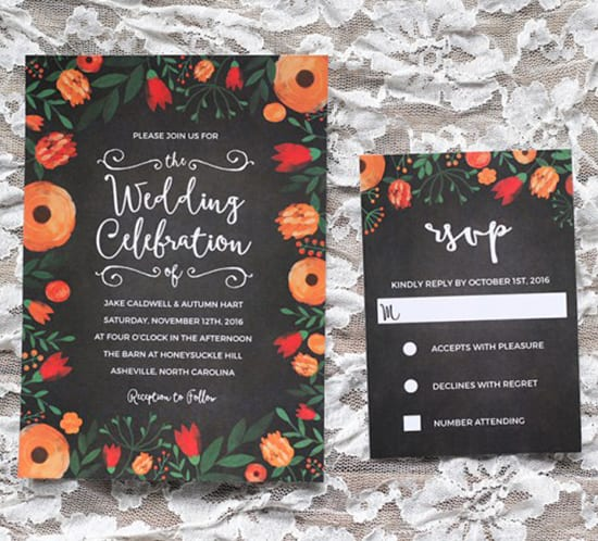 free whimsical wedding invitation on template and RSVP card mountainmodernlife.com