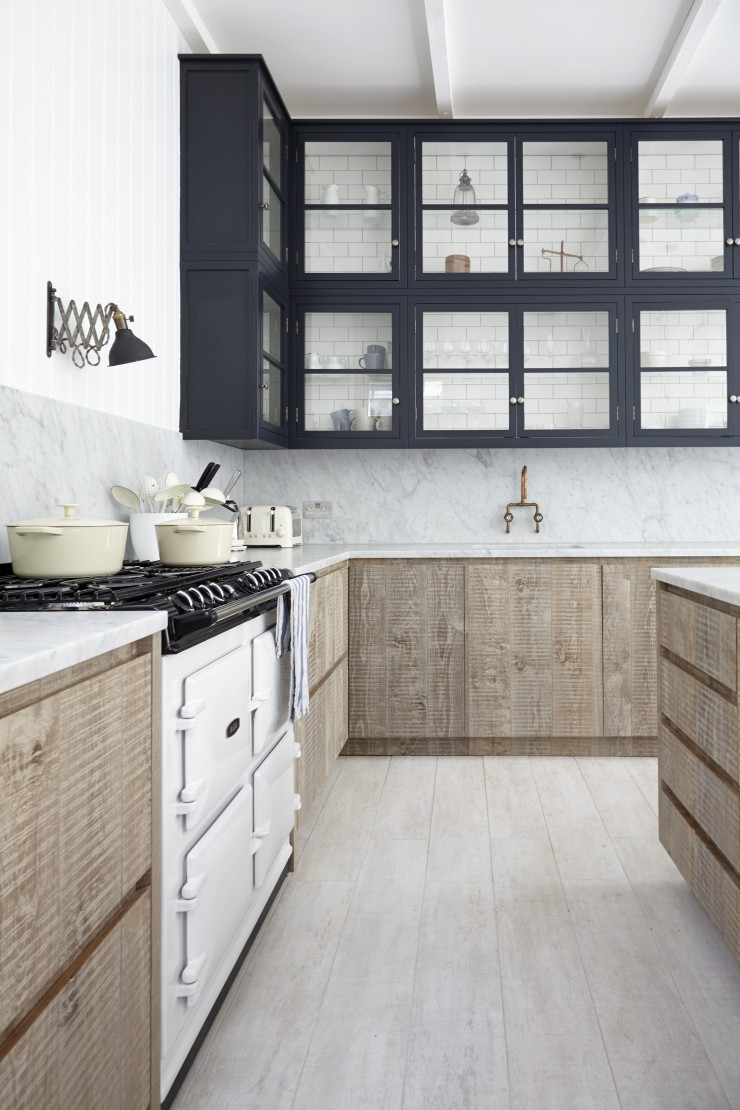 Stunning Kitchen Designs with 2-Toned Cabinets | Industrial Chic Navy + Wood Two-Tone Kitchen | Blakes London - Photo by 82mm