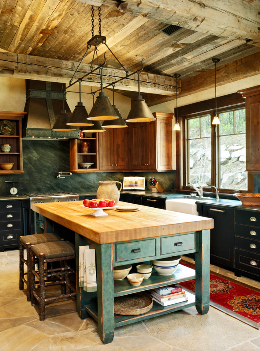 Stunning Kitchen Designs with 2-Toned Cabinets | Mountain Living Farmhouse Kitchen | via Houzz by Jordan Design Studios