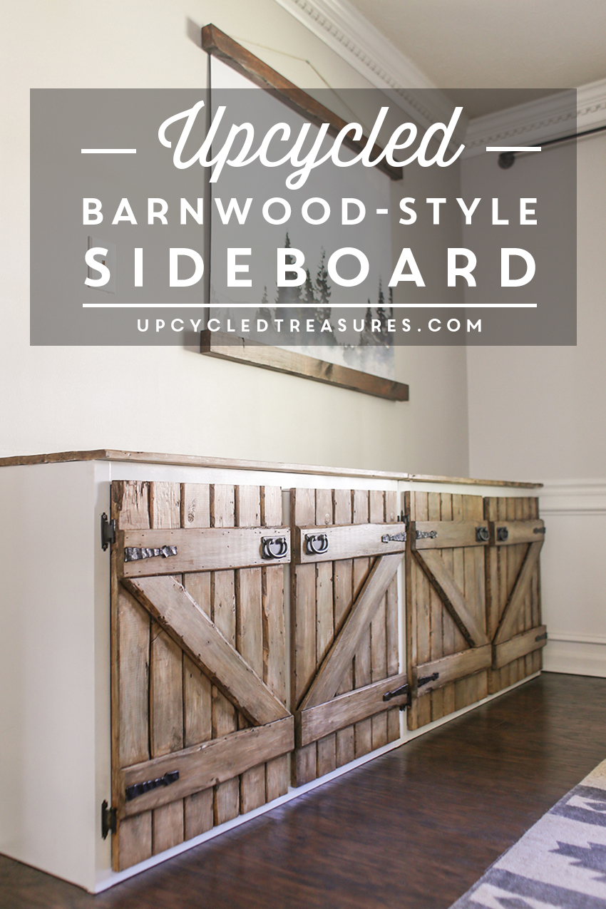 Dumpster Diving at it's finest! See how a thrown out cabinet is transformed into an upcycled barnwood style sideboard. upcycledtreasures.com