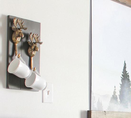 rustic diy moose hook mug holder mountainmodernlife