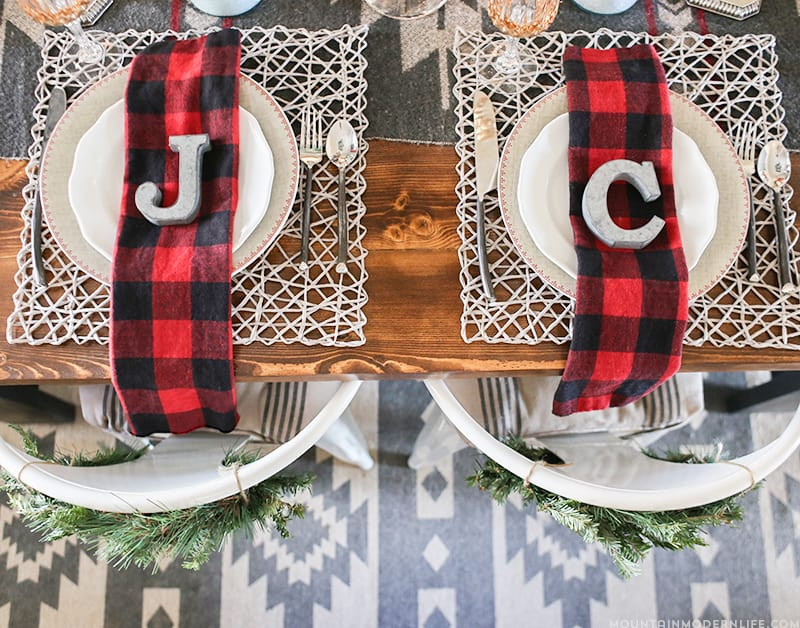 Cabin-Inspired Christmas Table Decor | MountainModernLife.com