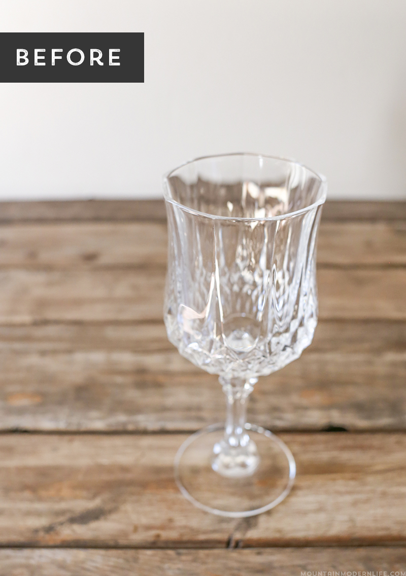 See how easy it is to create these DIY gilded glasses using stemware you may already have on hand and some liquid leaf! MountainModernLife.com