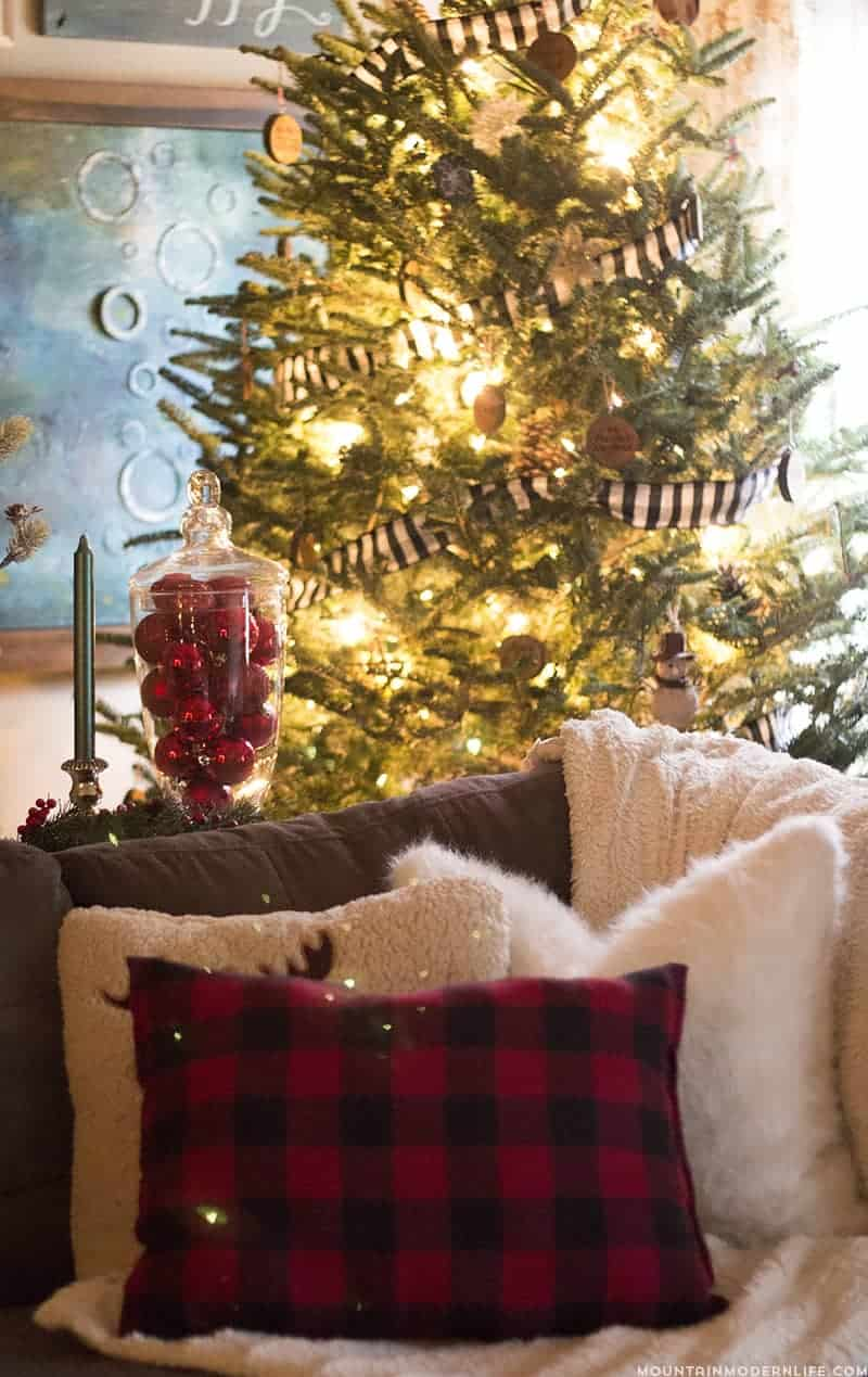 Rustic Christmas Tree with Buffalo Plaid Garland   MountainModernLife.com