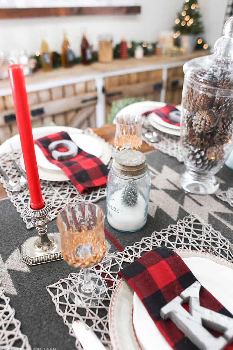 Christmas Tablescape with DIY Gilded Glasses | MountainModernLife.com