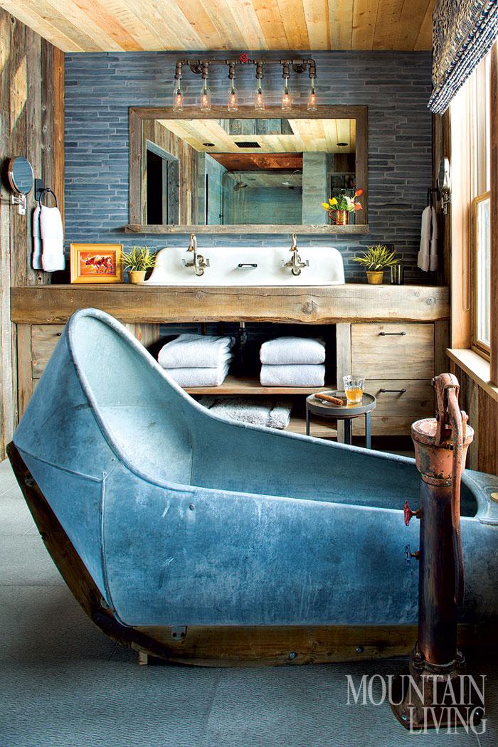 Rustic Modern Bathroom Designs | Rebecca Kaufman via Mountain Living