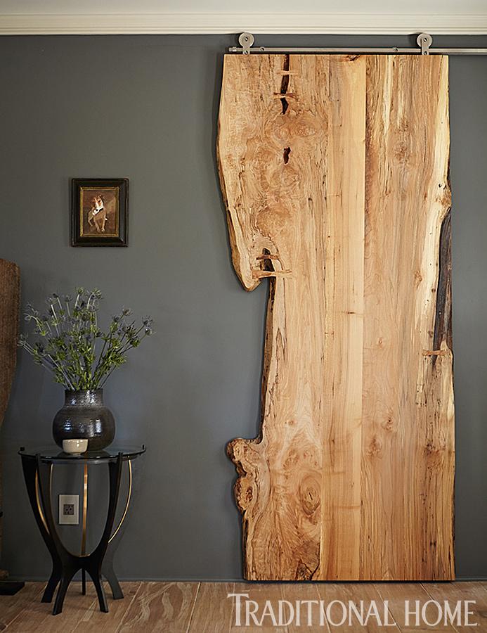 Live Edge Wood Sliding Door | Traditional Home/Cathleen Gouveia Design