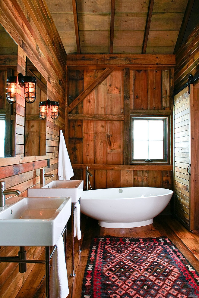 Rustic Modern Bathroom Designs | Michigan Barn by Northworks Architects & Planners via HomeAdore