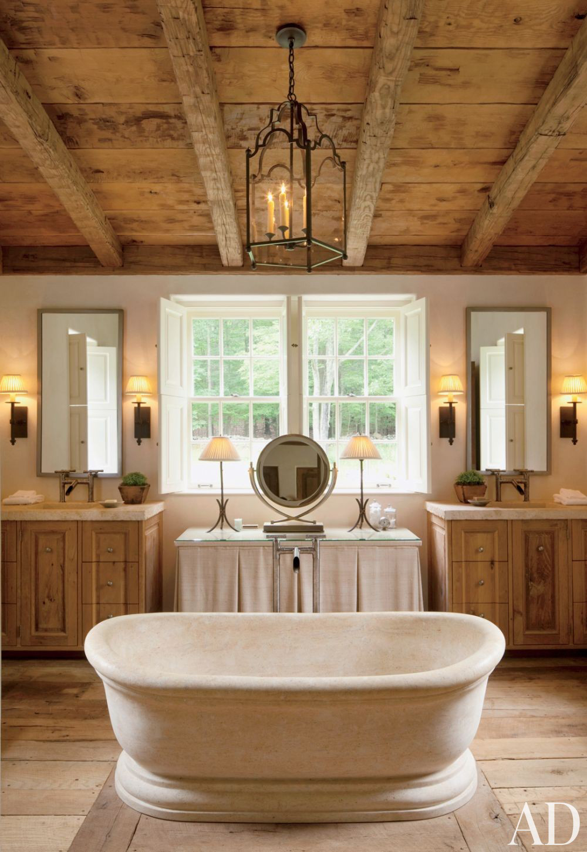 Rustic Modern Bathroom Designs | John Cottrell Co. & G.P Schafer Architect via Architectural Digest