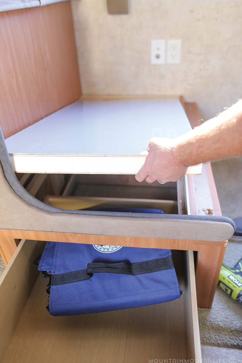 Looking to make changes to your Rig? See how easy it is to Remove the Dinette Booth from your RV | MountainModernLife.com