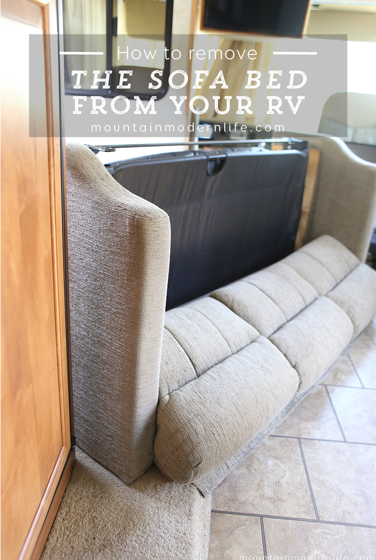 Planning to replace the couch in your motorhome? Some disassembling may be required. How to remove the sofa from your RV | MountainModernLife.com