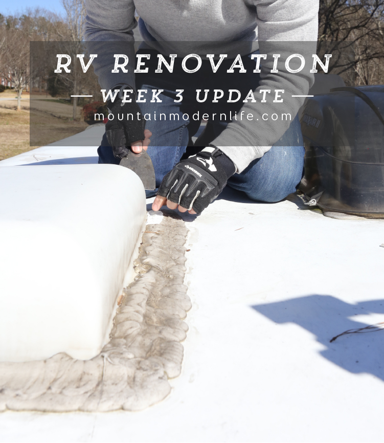 Take a look at the RV Renovation Week 3 Progress Update in our 2008 Allegro Tiffin Openroad 32LA | MountainModernLife.com