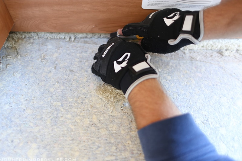 Removing the Carpet from around the RV Bed Frame | MountainModernLife.com