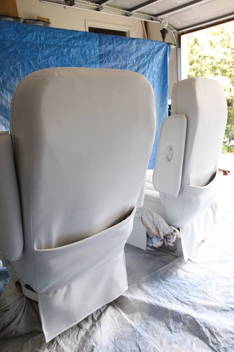 Thinking about painting vinyl or simulated leather furniture? Before you do be sure to check out this post with tips for painting an upholstered chair with a paint sprayer and see if painting our RV captain's chairs was worth it   MountainModernLife.com
