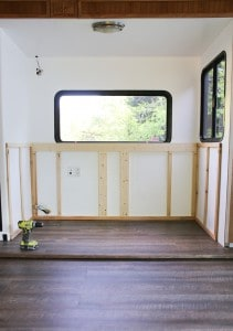 adding wood frame to rv slide out for custom cabinet with tv lift mountainmodernlife.com
