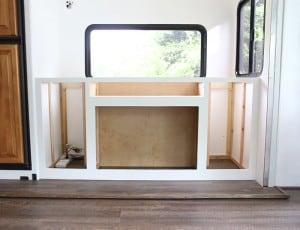 building custom cabinet inside rv for tv lift mountainmodernlife.com