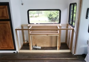 custom built in rv media cabinet with tv lift progress mountainmodernlife.com