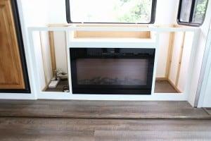 custom cabinet progress inside motorhome with electric fireplace mountainmodernlife.com
