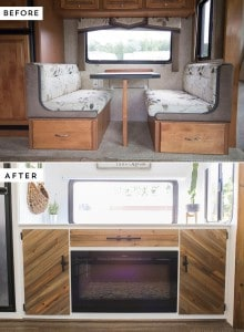 Replacing RV Dinette Booth with a Rustic Modern Media Cabinet | MountainModernLife.com