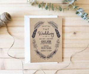 boho-rustic-printable-wedding-invitation-invitation-on-kraft-paper-mountainmodernlife.com