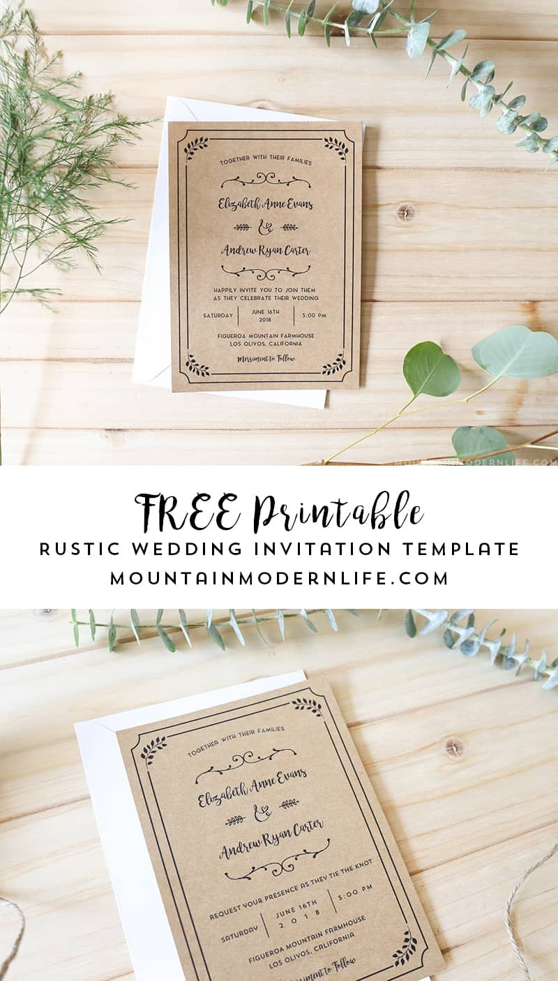 Rustic Wedding Invitation Template Country Wedding Template Instant Download Printable Invitation Rustic Invitation Wedding Template